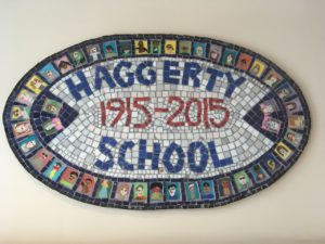 Collaborative centennial mosaic at the Haggerty School